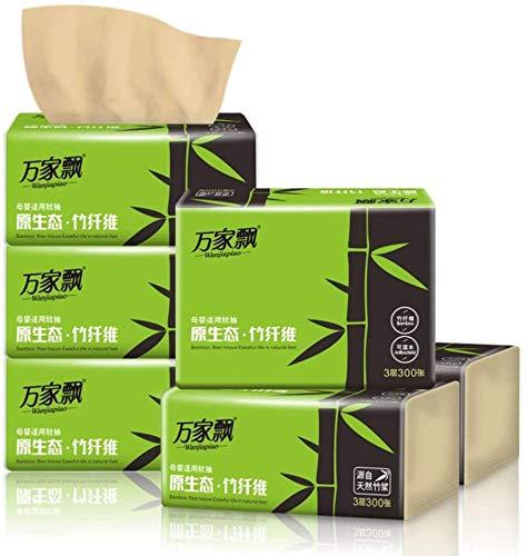 Zhongyanxin 3-lagiges Bambus-Zellstoff-Papier, mehrfach gefaltete Papierhandtücher mit schnell trocknender Saugfähigkeit, 100 Blatt/Packung Gesichtstücher (6 Packungen, 100 Blatt/Pack) 6 Packungen
