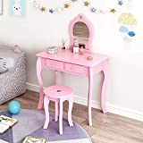 Hadwin Tocador y taburete, juego de mesa y taburete para niñas con espejo, de madera, diseño de princesas europeas con cajón, para niños de 3 a 8 años, color rosa