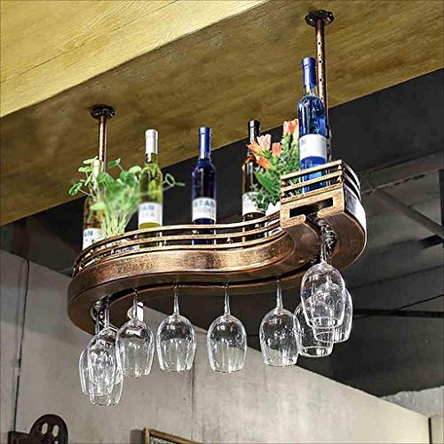 Decoration 60*23cm New Wine Rack Ceiling Wine Rack Adjustable Height Wall-mounted Wine Bottle Rack Metal Iron Wine Cup Holder Goblet Goblet Rack Retro Style Creative Bar Decoration Display Stand DIY