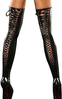 VJGOAL, Moda casual para mujer Sexy Club Medias hasta el muslo cómodas Tentación Correas de encaje de cuero Calcetines eróticos altos