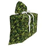 ABAKUHAUS Sabio Bolsa de Regalo para Baby Shower, Árbol de hoja perenne de la Navidad, Tela Estampada con 3 Moños Reutilizable, 70 cm x 80 cm, Verde verde oliva pálido verde