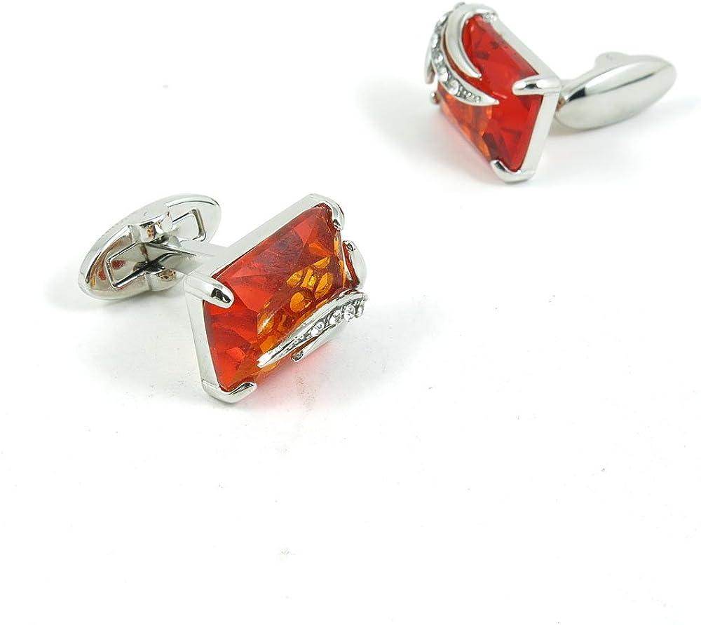 Cufflinks Cuff Links Classic Fashion Jewelry Party Gift Wedding 08043 Orange-red Square Stone