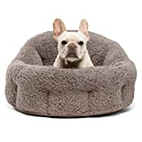OrthoComfort Deep Dish Cuddler - Self-Warming Cat and Dog Bed Cushion for Joint-Relief and Improved Sleep - Machine Washable, Waterproof Bottom - For Pets Up to 25lbs, Gray Sherpa (DPD-SHE-GRY-JMB)