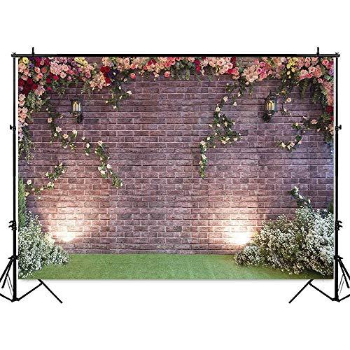 Sfondo di matrimonio bianco Fotografia Fiori Muro Sfondo rosa Sfondo di matrimonio Doccia Ritratto Fondali Scena romantica Foto A2 10x10ft   3x3m