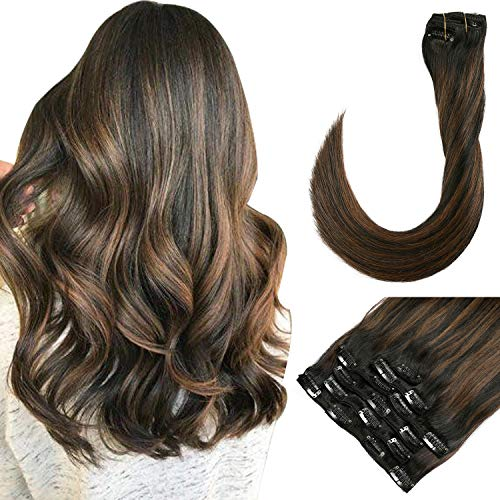 Clip in Human Hair Extensions 22 Inch Long Black Hair with Brown Highlighted Remy Clip Hairpieces Double Weft 120 Gram Full Head Clip on Extension for Women(#1BT6P1B) (Brown Hair With Full Head Of Highlights)