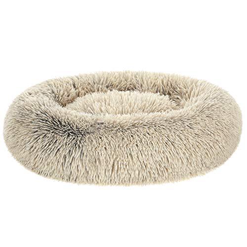 FEANDREA Hundebett, Katzenbett, weicher Plüsch, 70 cm, Khaki PGW039S01