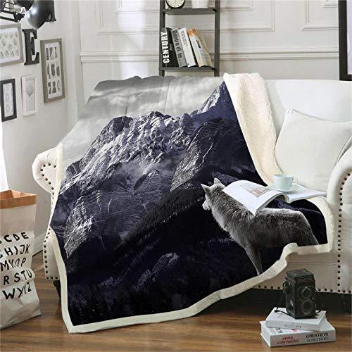 WYWYCT Luxus-Kunstpelz-Decke 150X200Cm Schwarz Berge Tiere Wolf Hochflorige Gemischte Decke, Super Warmer, Flockiger, Eleganter, Flauschiger Dekorations-Deckenschal Für Sofa Geschenk