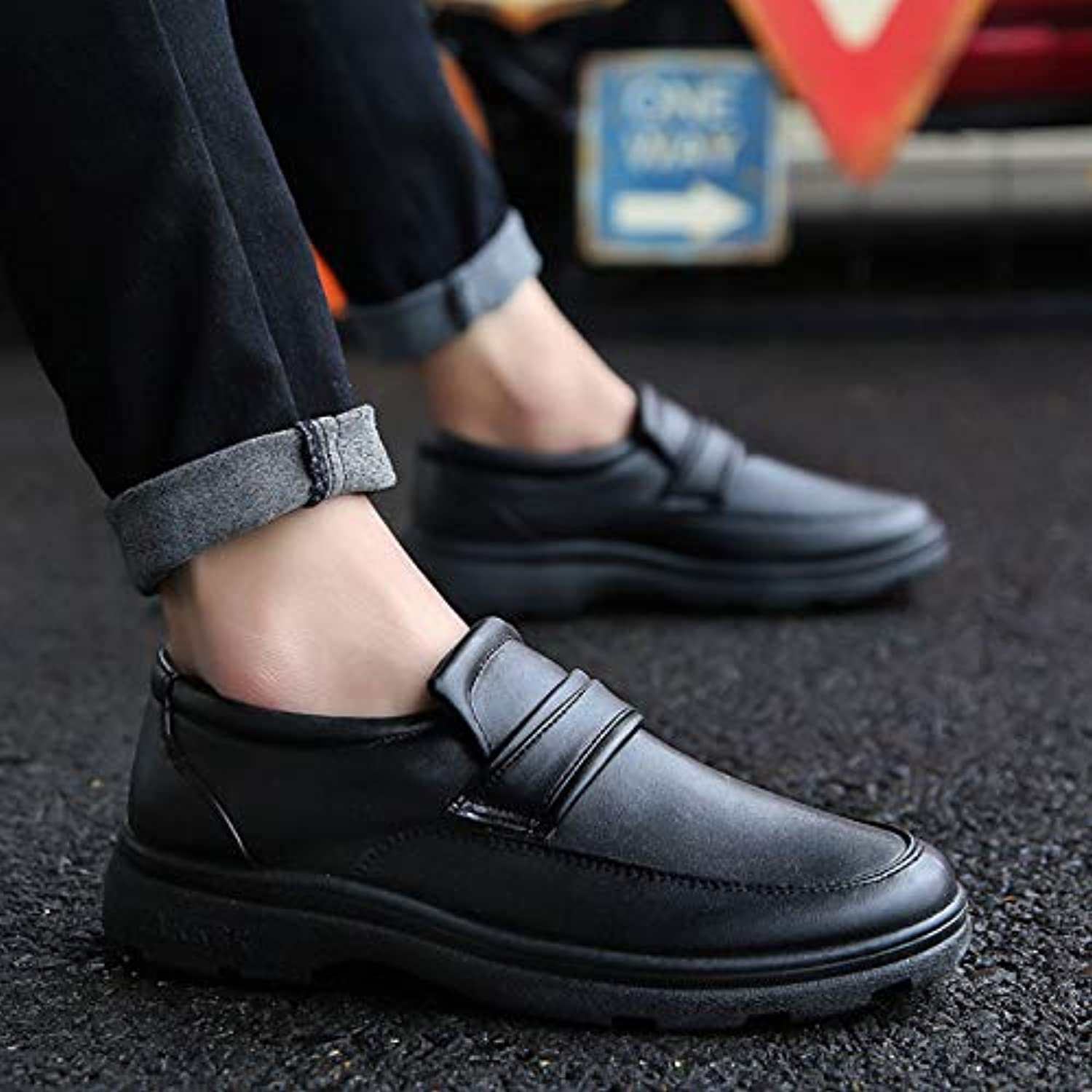 LOVDRAM Men'S Leather shoes Autumn And Winter Casual shoes Outsole Foot Low Heel shoes Retro Simple Lace Gentleman shoes