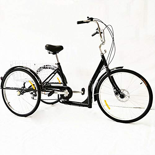 Kaibrite - Triciclo de 26 pulgadas para adultos, 6 velocidades con cesta de la compra, altura del vehículo ajustable (negro)
