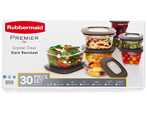 Review Of Rubbermaid 071691490951 Premier Food Storage Containers, 30-Piece Set, Gray, Transparent