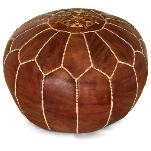 Mina Stuffed Moroccan Leather Pouf Ottoman, 20″ Diameter and 13″ Height (Brown)
