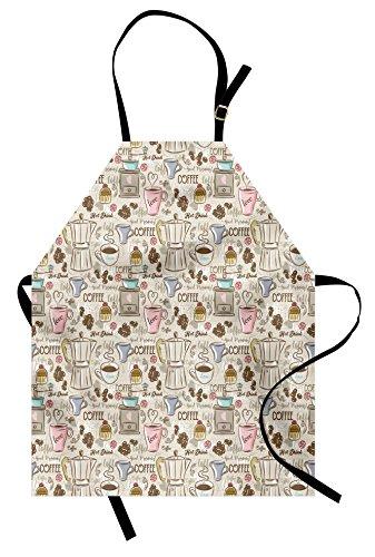 Ambesonne Modern Apron, Coffee Time Vintage Espresso Machine Cupcakes Beans Design, Unisex Kitchen Bib with Adjustable Neck for Cooking Gardening, Adult Size, Pink Beige