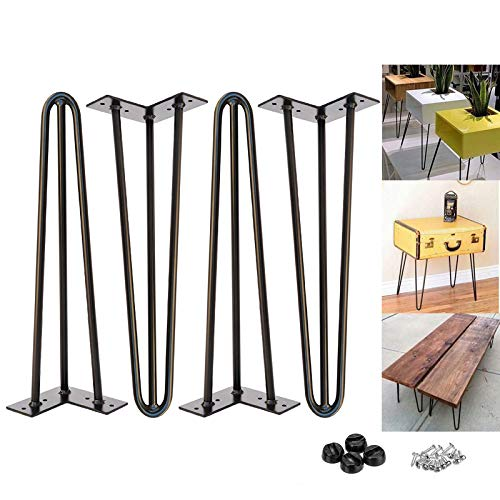 16 inch Metal Table Legs 40cm Black Steel Hairpin Table Leg 3 Rod Mid 41cm Century Modern Furniture Industrial Style for Side Table Bench DIY Furniture, with Protector Feet & Screws (Set of 4)