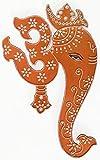 Arte étnico hecho a mano hindú colgante de pared de Dios Ganesha con Om espiritual - cobre