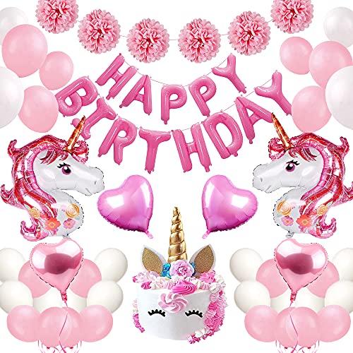 Pink Decoraciones de Fiesta de Unicornio,Decoraciones de Cumpleaños Rosa Niña con Unicornio Globo Látex Blanco Rosa,Papel de Pompón,Happy Birthday Banner Globo para Fiesta Cumpleaños Niña
