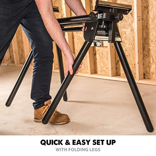 Evolution - 005-0001 Power Tools EVOMS1 Compact Folding Miter Saw Stand with Quick Release Mounting Brackets, Rollers, and End Stops, Black