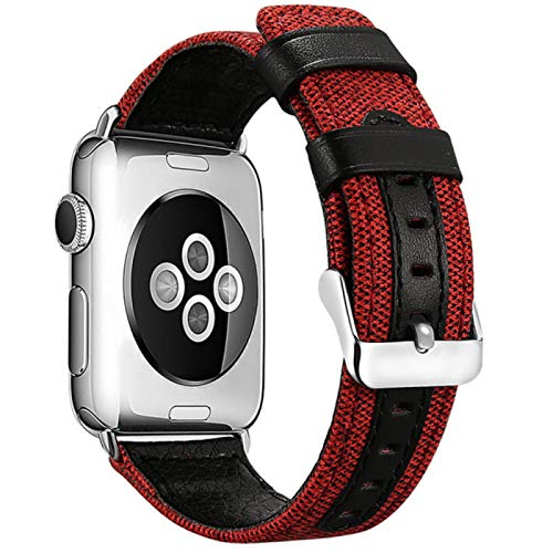 Pulsera de nailon vaquero para Apple watch band 44mm 40mm 42mm 38mm correa de reloj para iwatch series 6 5 4 3 2 1 Accesorios-Rojo, para 42mm 44mm