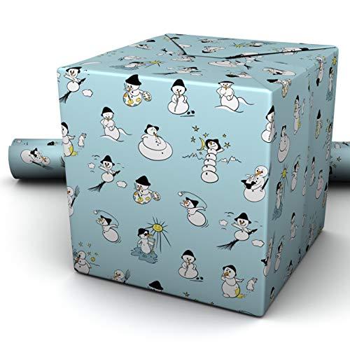 Geschenkpapier Rolle 5m x 70cm hellblau NEU 2021 Schneemann Kinder Erwachsene Winter Geburtstag Geschenk Papier blau Geschenkpapierrolle Jungen Mädchen Baby Männer Frauen