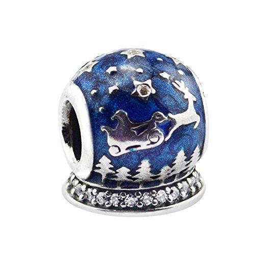BAKCCI Navidad Noche Charm Beads DIY se adapta a pulseras Pandora originales 925 plata encanto moda joyería
