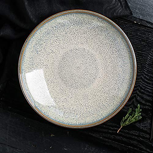 SMC Platos Plato de Sopa Profunda Redonda Retro de Estilo japonés Plato de merienda de Ensalada de cerámica