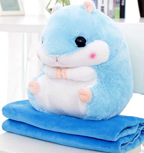 YunNasi 2 en 1 Hámster de Peluche con Manta Lindo Hámster Suave Almohada para Niños y Niñas (Azul)