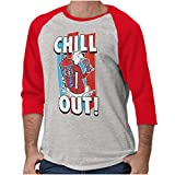 Brisco Brands Officially ICEE Logo Chill Out 3/4 Sleeve Tee Men Women Sport Grey/Red