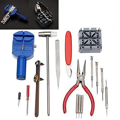 WFRAU 16-teilige Uhrenreparatur Werkzeugsätze, Batterie-Werkzeug Reparatursatz für Uhrengehäuse entfernen Pin Link Federbandentferner Uhr Demontagewerkzeug Rückenöffner