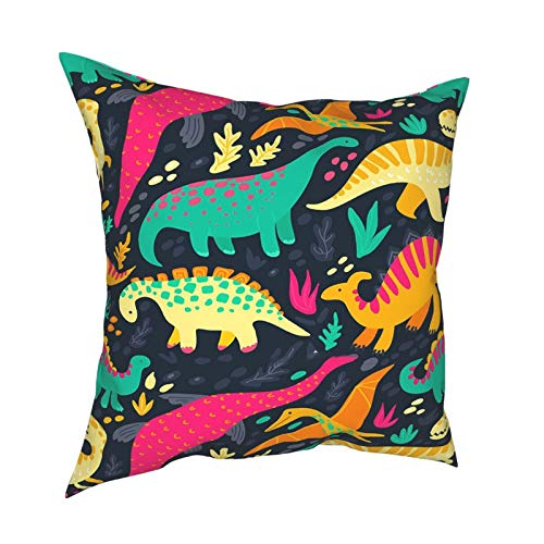 Keepy Flat Dinosaur Patternmodern Decorative Throw Pillow Covers Cushion Cover for Bedroom Sofa Living Room 12 X 12 Inch, Natural