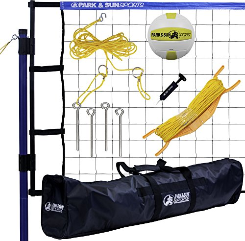 Park & Sun Sports Spiker Flex: Portable Outdoor Volleyball Net System, Blue