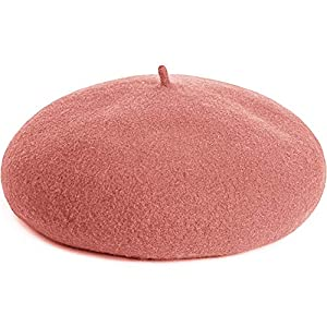 Caseeto べれー帽 レディース ベレー帽 キッズ 帽子 ウール サイズ調整可 秋冬春 帽子 全4色 防寒 無地 男女兼用 (A-Pink)