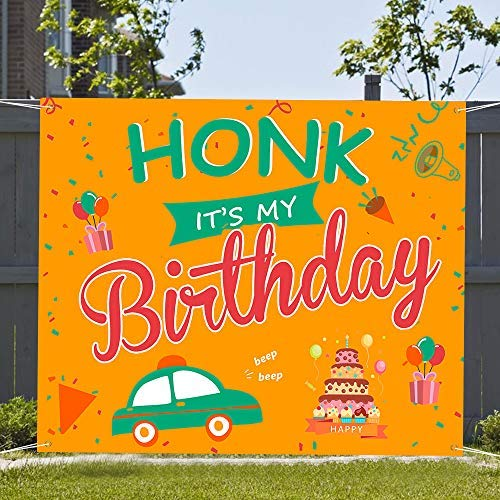 Birthday Decoration HONK IT'S My Birthday Quarantine Banner Birthday Yard Sign Hanging Flags Decorations for Party Atmosphere (B)