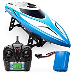 HIGH SPEED REMOTE CONTROLLED BOAT: The Velocity RC toy boat for adults and kids races across water at 20+ mph; this high speed boat includes a 4-channel remote with a 120-meter signal range RC BOAT FOR ADULTS AND KIDS: Our remote controlled boats fea...