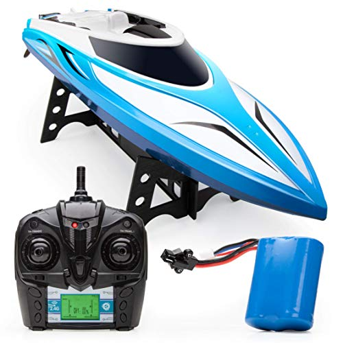 Force1 Velocity H102 RC Boat - Remote Control Boat for Pools and Lakes, Fast RC Boats for Adults and Kids with 20+ mph Speed, 4 Channel 2.4GHZ Remote Control, and Rechargeable Boat Battery (Blue)