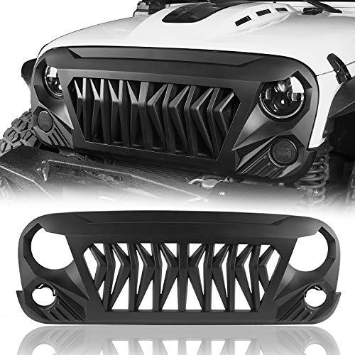 Hooke Road Shark Grill Matte Black Front Grille Grid Compatible with Jeep Wrangler JK 2007-2018 Rubicon Sahara Sport Unlimited