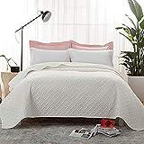 Bedsure Tagesdecke 220 240 beige Schlafzimmer- Bettüberwurf 220x240 cm für Bett, Wohndecke aus Mikrofaser mit Ultraschall genäht, als Steppdecke Sommer Komfort & Weich