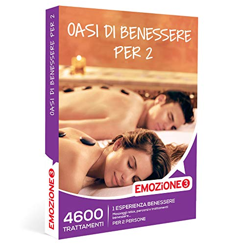 EMOZIONE3 - Oasi di benessere per 2 -  Cofanetto Regalo Benessere  - 1 esperienza benessere: massaggi, percorsi benessere trattamenti estetici per 2 persone