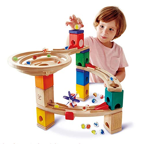 ZIXERN Baby Spielzeug Holz Baublöcken Early Learning Aufbau-Spielzeug BAU Kugel Run Spielzeug Geschenke for Kinder Frühe Erziehung (Color : Multi-Colored, Size : 35x36x38cm)