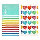 ED Ellen DeGeneres French Stripe/I Love You Hearts 2 Piece Cotton Beach Towel Set, 68 x 36, Multicolored