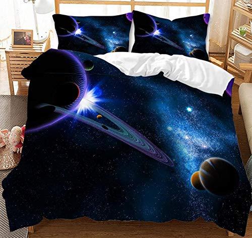 JZZCIDGa Universe Planet DuvetCover 3-PieceBedSetBeddingSetPillowcasesDoubleHiddenZipperMicrofiberQuiltCover