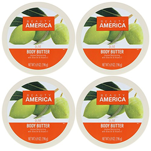 Beauty America Intense Moisturizing Body Butter With Olive Oil & Vitamin E, 4 pack