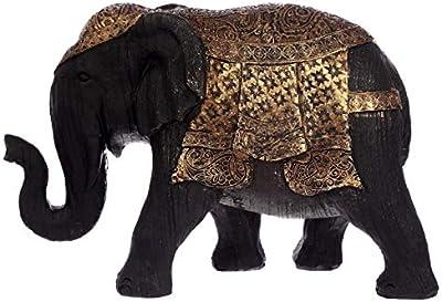 Elephant Figurine Black and Gold Clay (Medium)