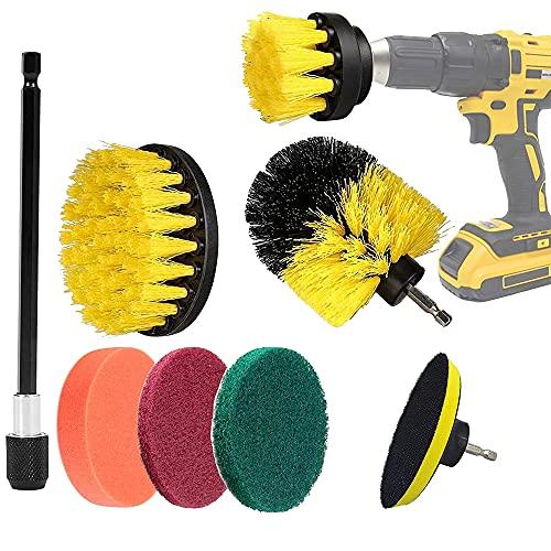 AODOOR Juego de 8 piezas de cepillo de limpieza, extensiones, cepillo, taladro eléctrico, broca para azulejos, suelos, llantas, cocina, bandeja de horno, linóleo
