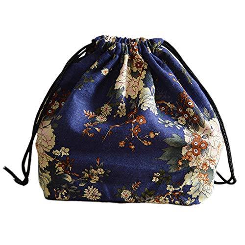 Sac à Lunch de Style Japonais en Coton avec bento et Pochette pour Sac à Lunch avec Pique-Nique de Voyage avec Cordon