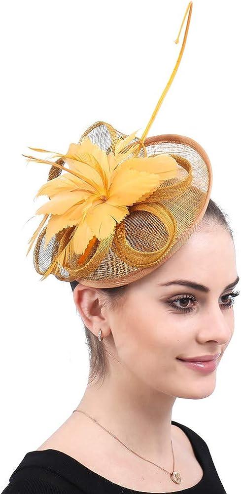 Vintage Feather Headpiece Elegant Ladies Day Church Party Hat Wedding Brides SYF501