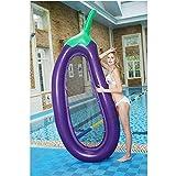 Kyman Adultos 270 * 110cm Inflable Gigante Berenjena Flotador de la Piscina Colchón Tomar el Sol Cama de la natación del Anillo del círculo Beach Water Party Mat Juguetes for niños