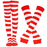 BigOtters Red and White Striped Socks, 2PCS Red and White Clothes Including Striped Knee High Socks Long Arm Warmer Gloves for Adults and Teens Party Costume