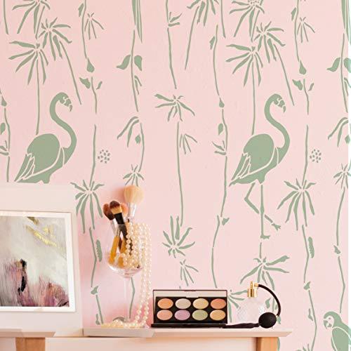 STENCILIT Tropics Plantillas de pared para pintura – Tamaño XL 24 x 39.5 pulgadas – Plantillas de decoración de pared con flores botánicas – Plantillas tropicales para paredes