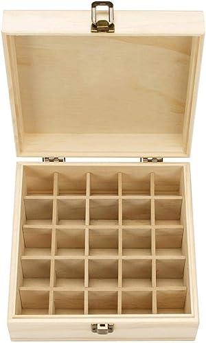 airiver Boîte d'Huile Essentielle Organisateur Rangement en Bois 25 Compartiment 5 ML, 10 ML, 15 ML Roller Bouteilles