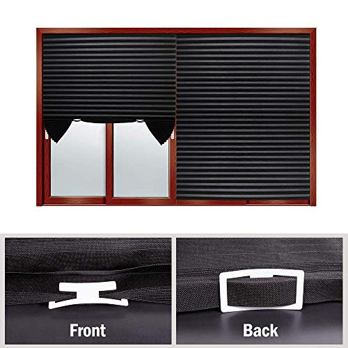 """LUCKUP 2 Pack Cordless Light Filtering Pleated Fabric Shade,Easy to Cut and Install, with 4 Clips (36""""x72""""- 2 Pack, Black)"""