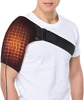 Heated Shoulder Wrap Brace, USB Portable Electric Shoulder Heating Pad for Rotator Cuff, Frozen Shoulder, AC Joint Pain, Shoulder Dislocation Sprains, Bursitis Muscles Pain Relief, Unisex